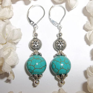 Earrings Turquoise Blue & Silver Southwestern 4746